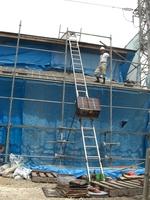 1階部分の瓦作業