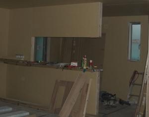 対面キッチンの吊り戸棚